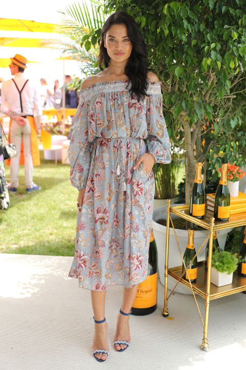 summer maxi dress-off the shoulder dress-summer dress-party-shower-polo-shanina shaik-