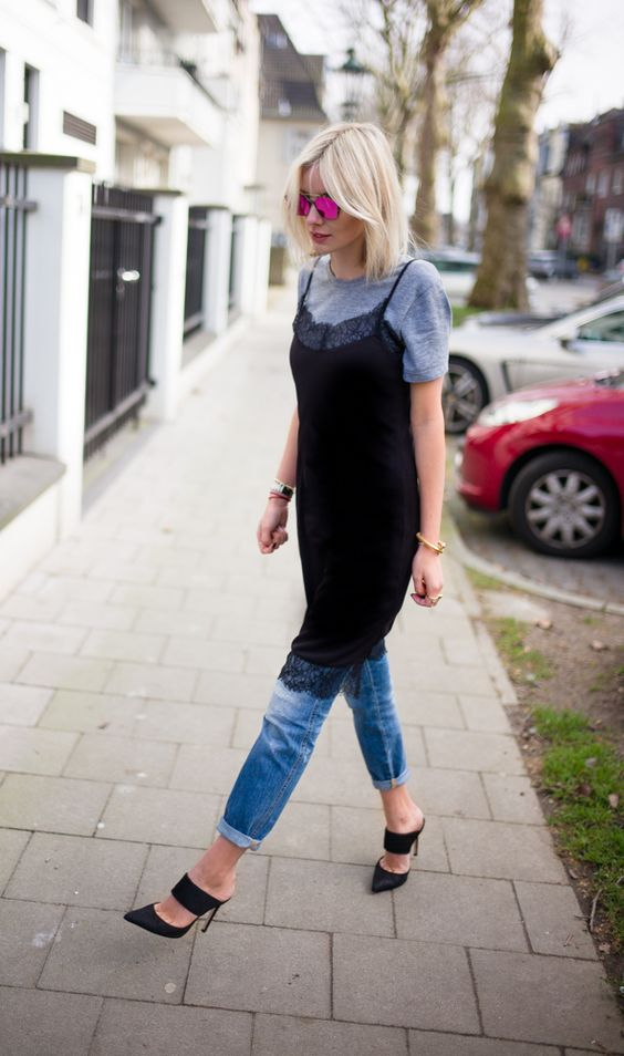 tshirt under slipdress-dress over pants how to style a slip dress