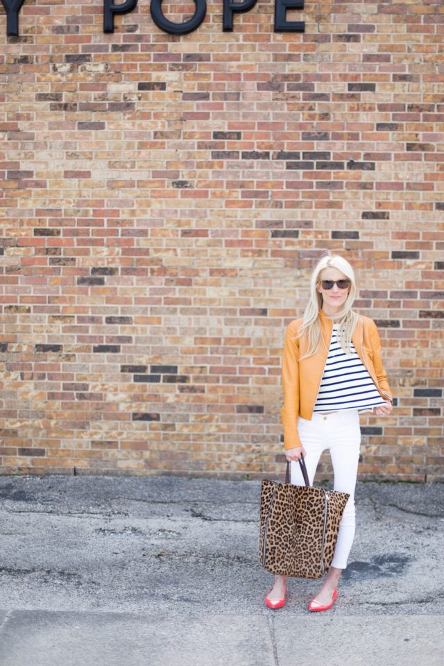 white jeans-stripes-leather jacket-spring weekend outfit-
