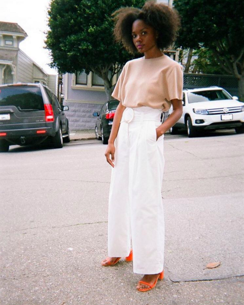 white pants-white and blush-orange sandals-spring summer work outfit-wide leg pants-