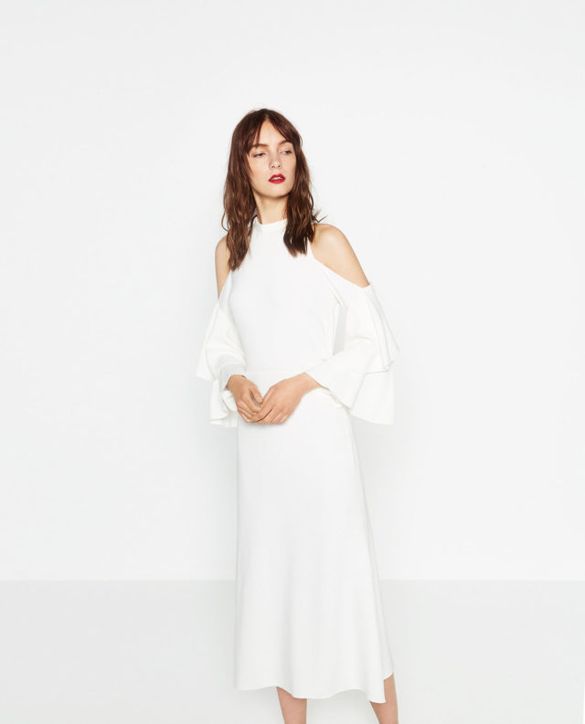 8e575bbbad3 Studio Cut-Out Shoulder White Dress. 2636682250 2 3 1. zara