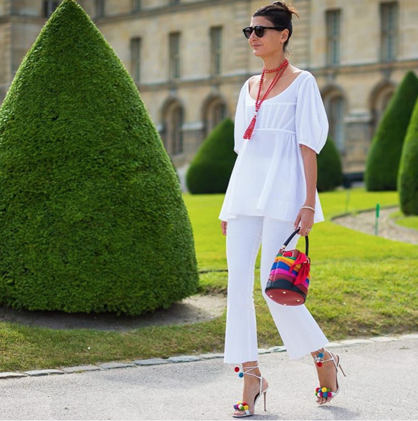 all white-summer whites-cropped flares-pom pom sandals-