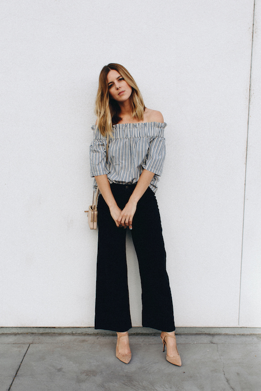 cropped flares-stripes-off the shoulder-summer outfit-going out-night out-party-work-take aim