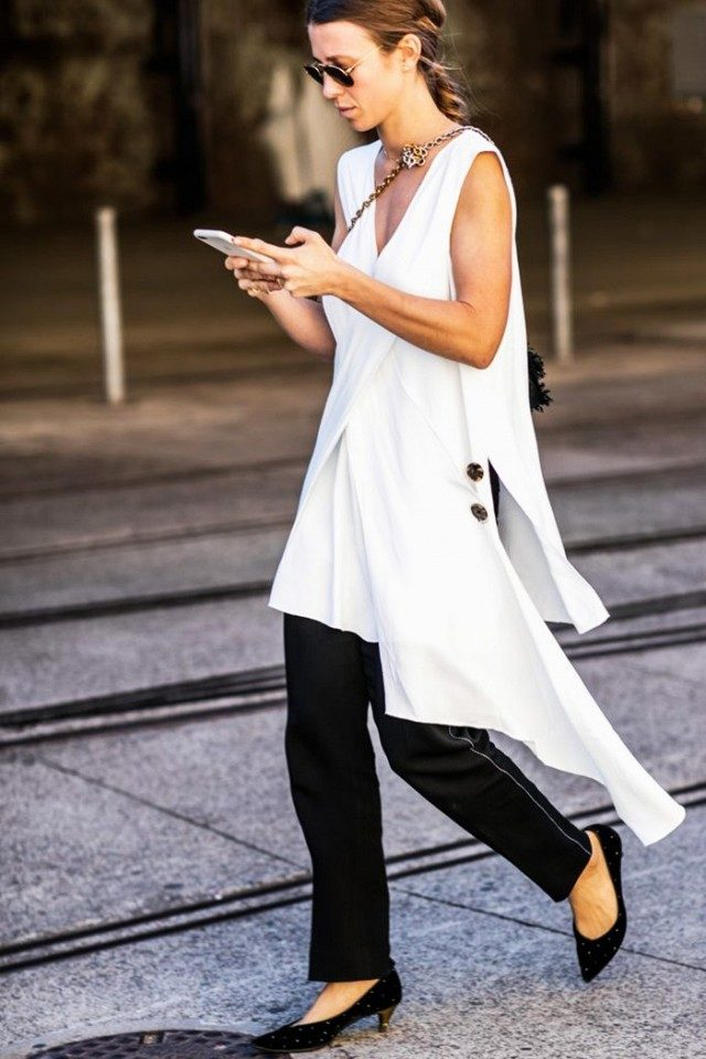 dress over pants-black and white-summer work outfit-long tunic-asymmetrical hemline-=