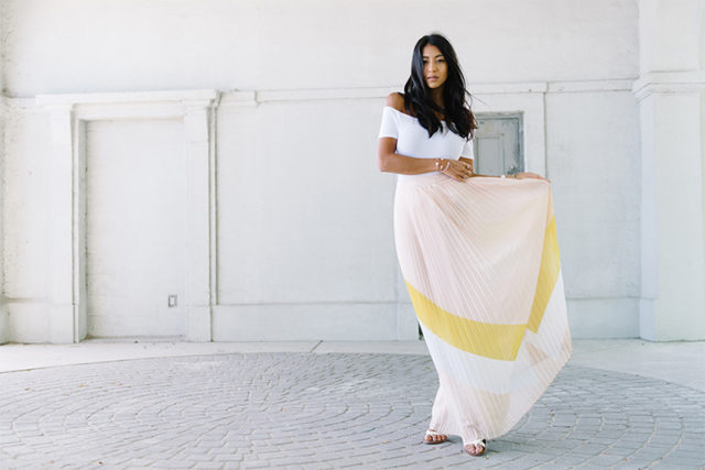 maxi skirt-off the shoulder-pleated maxi skirt-pastels-