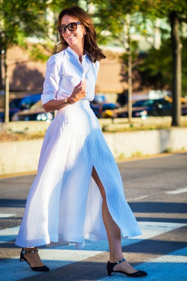 maxi skirt-white oxford shirt-all white-kitten heel-ankle strap heels-summer work outfit-