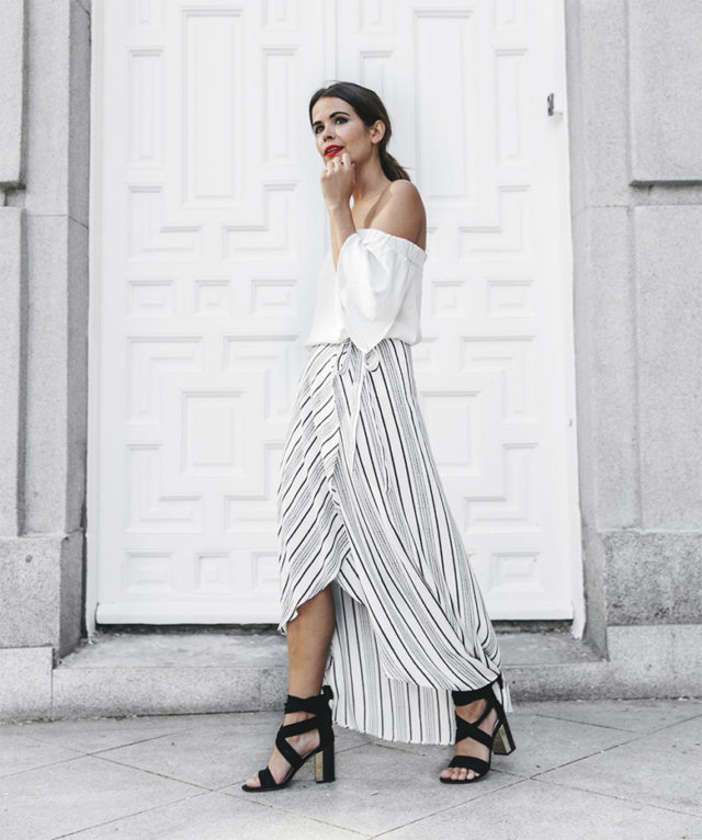 maxi skirt-wrap skirt-black sandals-off the shoulder-summer going out night out party-bbq-