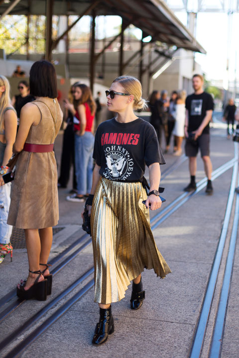 metallic pleated midi skirt-gold skirt-ankle boots-vintage rocker tee-band tee-australian fashion week -hbz