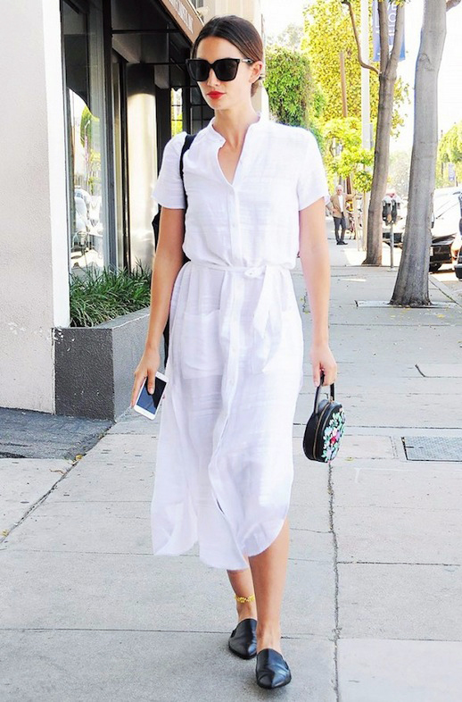 mules-slides-white shirtdress-shirt dress-summer work outfit-model style-lily aldridge-www