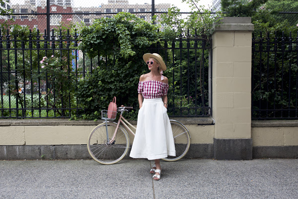 off the shoulder crop top-midi skirt-white midi skirt-white sandals-summer party going out shower brunch-gingham-