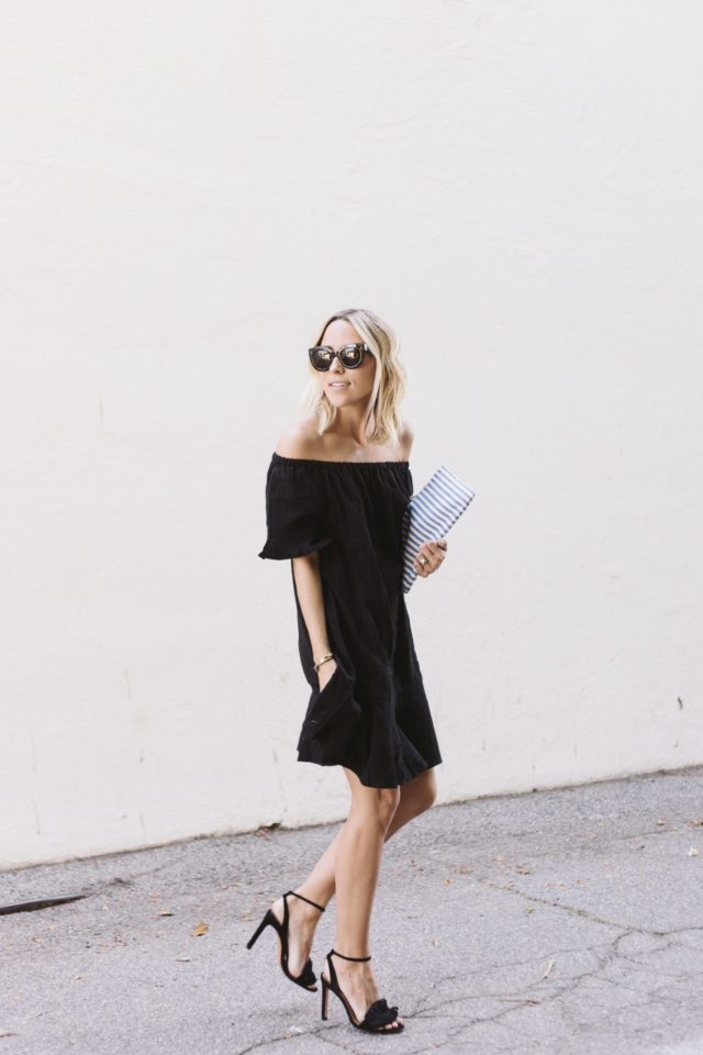 off the shoulder-fringe-wedding-all black-summer wedding-damsel in dior-party-engagement party