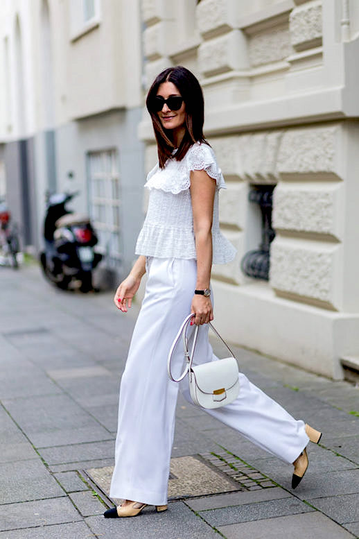 ruffles-eyelet-colorblock block heels-chanel heels-white wide leg pants-saddle bag-lace-all white-summer work outfit-office to out-going out night out drinks-