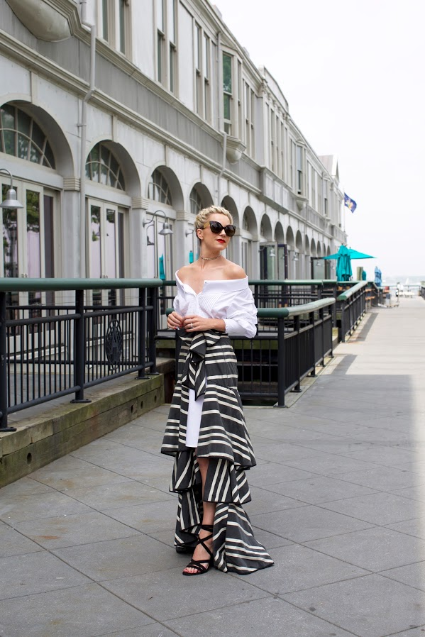 ruffles-wedding-party-off the shoulder-skirt over dress-stripes-vacation jetsetter-wedding-atlantic-pacific-black and white