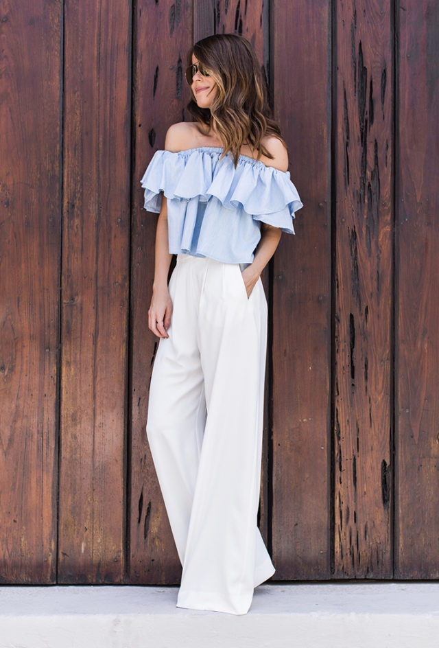 ruffles-white wide leg pants-party-going out night out-summer-off the shoulder top