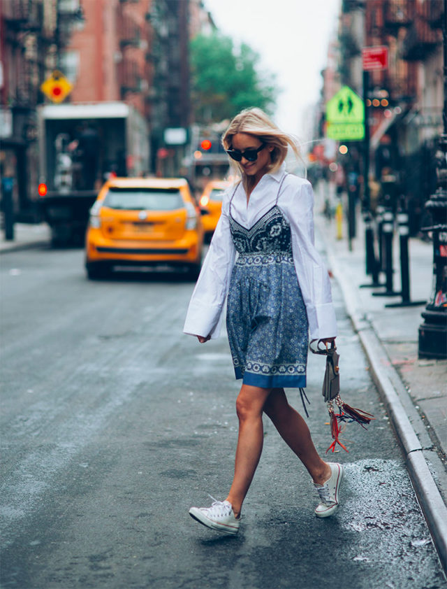 slip dress-sneakers and dresses-shirt under dress-summer work outfit-