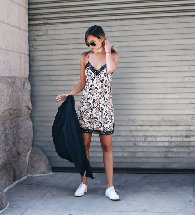 slip dress sneakers-nightie-summer party-dresses and sneakers-