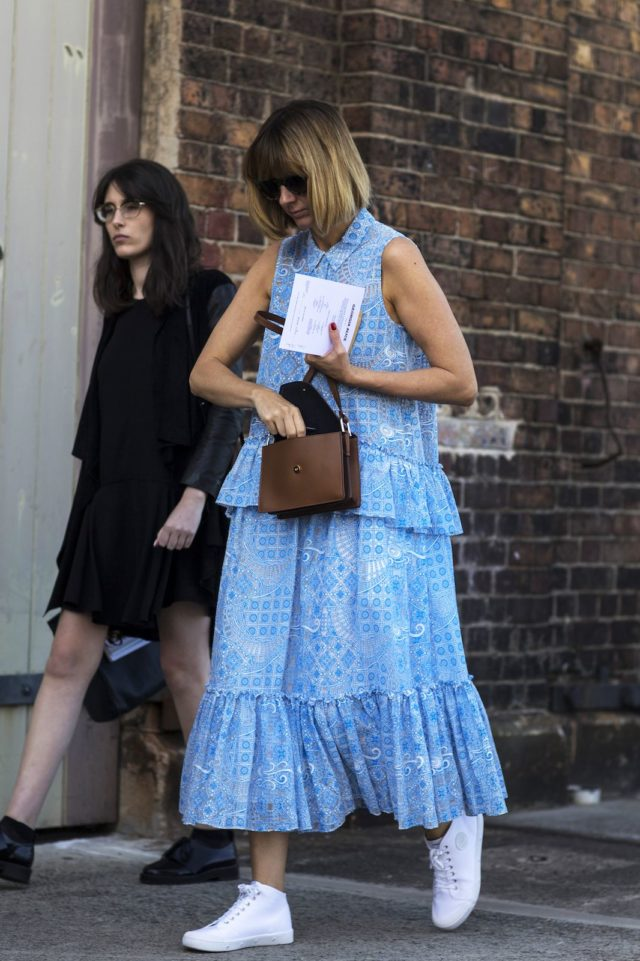 sneakers and dresses-ruffles-spring summer dress-australia fashion week-ref