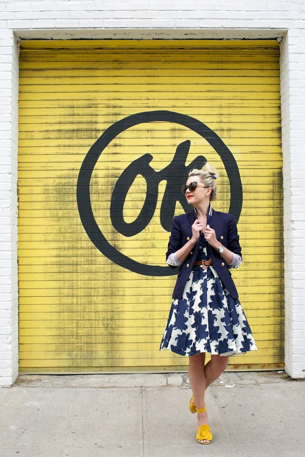 spring work outfit-summer spring shower-party-navy-yellow shoes-sandals-belted dress-