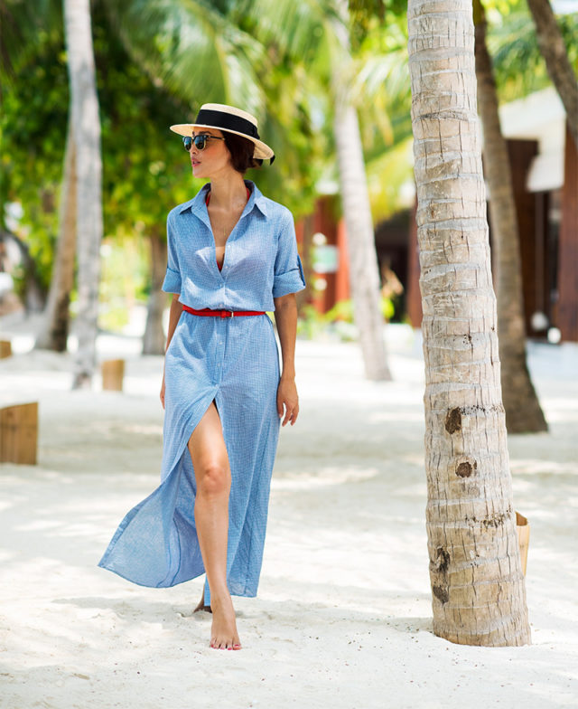 summer maxi dress-long shirt dress-belted-straw hat-beach coverup-beach party-pool party-vacation jetsetter-