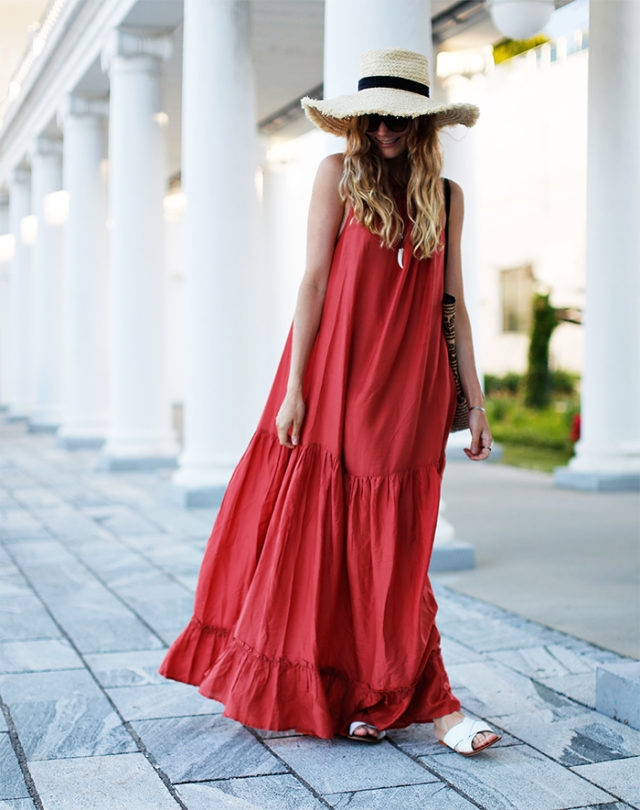 summer maxi dress-white sandals-straw hat-summer weekend party pool-