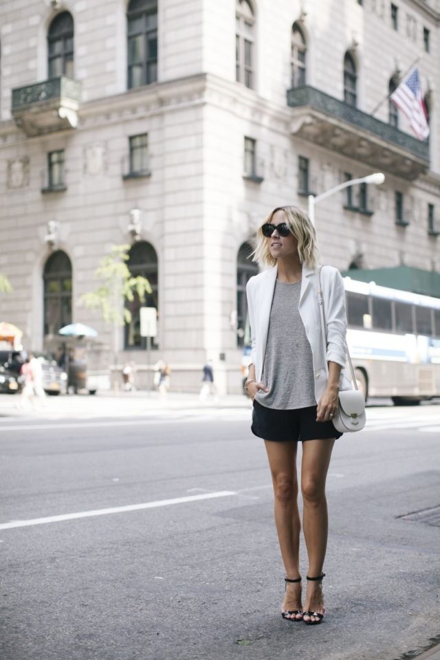 summer weekend-white blazer-simple black sandals-shorts to work-