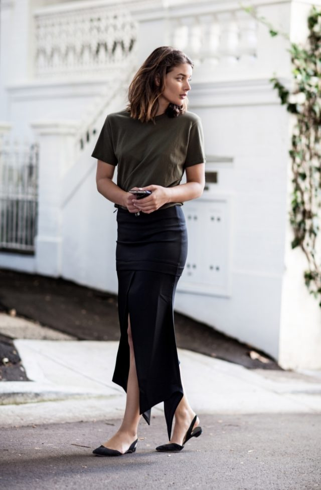 summer work outfit-black midi skirt-slitted skirt-slit-slingbacks-flats-flat slingbacks-army green and black-olive green-tshirt to work-