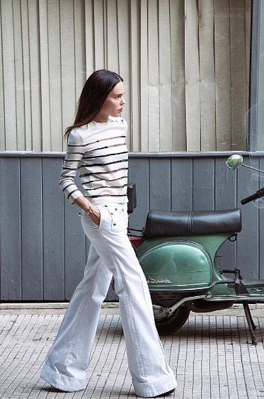 white wide leg pants-nautical-stripes-summer work weekend-office to out-evangelie smyrniotaki-