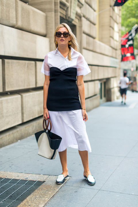 black-and-white-white-shirt-dress-mules-bustier-over-dress-hack-nyfw-street-style-fall-outfits-hbz