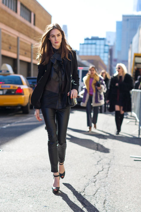 black leather skinnies-bow blouse-ruffles-velvet jacket-leather jacket-pantssuit-going out night out-sheer-nyfw street style-weekend-hbz