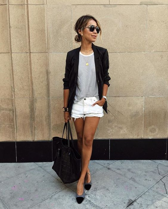 blazers and cutoffs-striped shirt-date night-white cutoff shorts-sincerely jules instagram