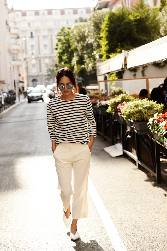 glove shoes-striped tee-white culottes-summer work outfit-summer fridays-