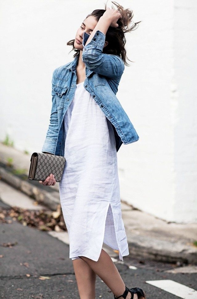 linene slip dress-linen-denim jacket-jean jeacket-