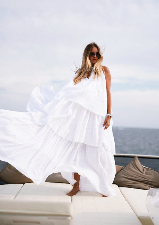 ruffles-white maxi dress-yacht-summer-travel-