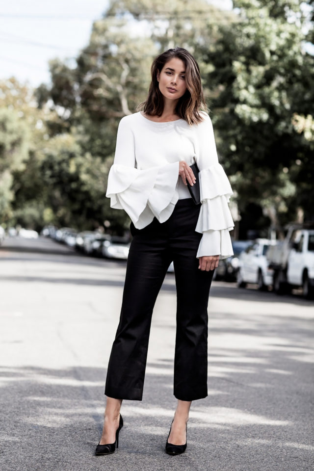 ruffles-work office to out-black and white-blac cropped trousers-