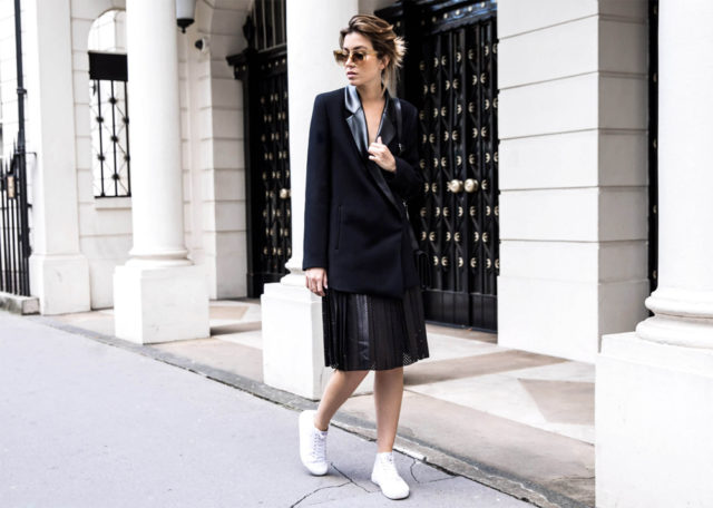spring work outfit-pleated skirt-perforated leather-leather skirt-athleisure-long tuxedo blazer-oversized blazer-spring work outfit-sneakers and skirts-the chronicles of her