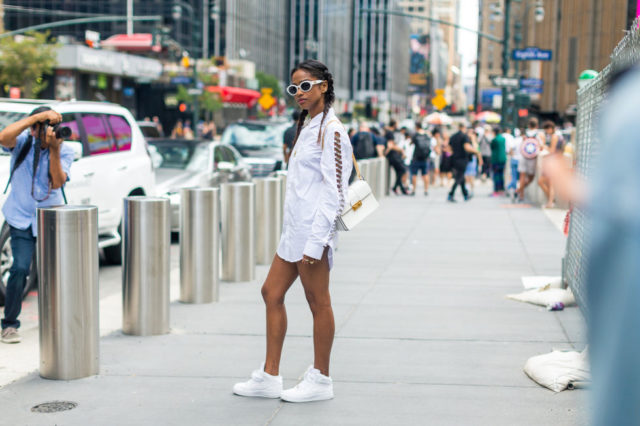 stiches-stitching-white-shirt-dress-white-sneakers-nyfw-street-style-fall-outfits-hbz