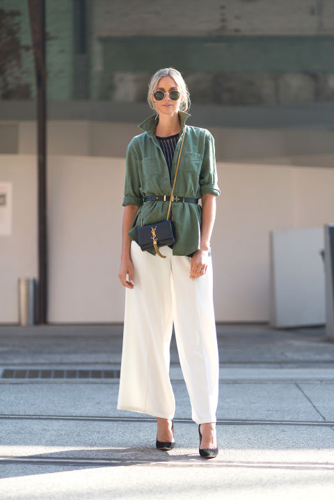 white culottes-army jacket-belted-belt your jacket-summer work-summer to fall transitional dressing-hbz