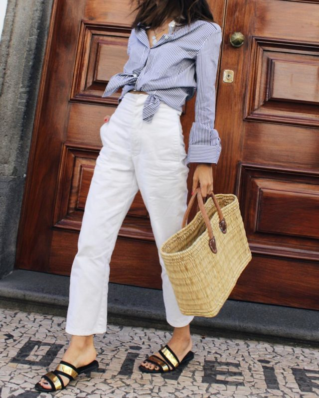 white jeans-straw bags-knotted shirt-striped oxford shirt-gold slides-metallic-weekend outfit-work outfits-