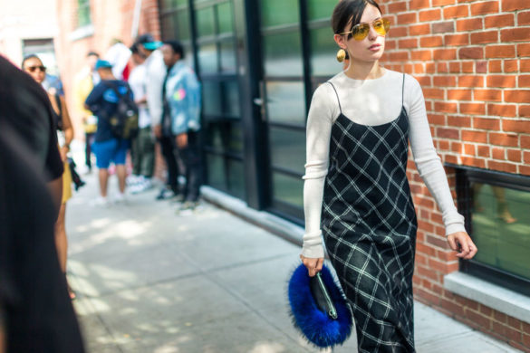 windowpane-prints-shirt-under-slip-dress-fall-work-outfit-furry-purse-fur-bag-nyfw-street-style-fall-outfits-hbz