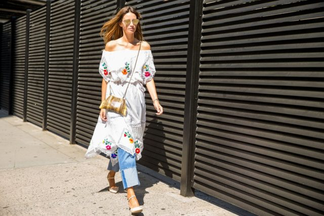 boho-embroidered dress-dress over pants-cuffs-off the shoulder-ps