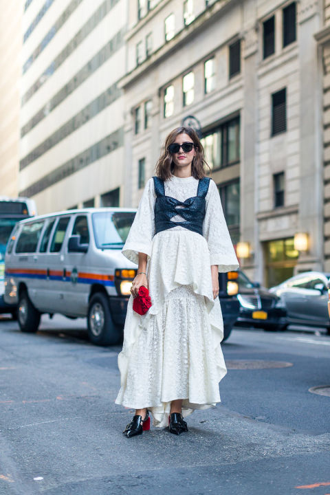 bustier-over-dress-ruffles-nyfw-street-style-fall-outfits-hbz