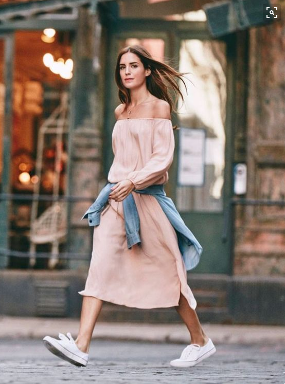 dresses and sneakers-off the shoulder dress-weekend-night out-summer-insta