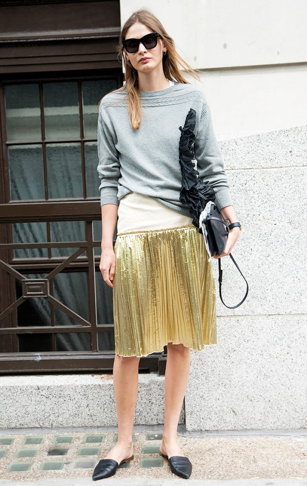 metallic midi skirt-mules-slides-sweatshirt to work-www'