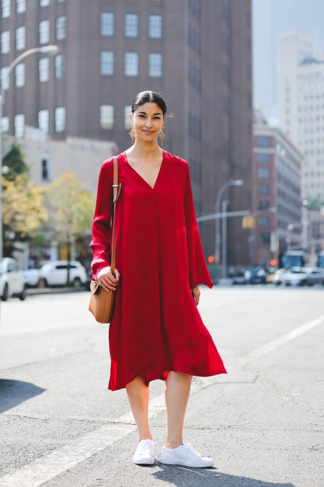 red-dress-bell-sleeves-sneakers-and-dresses-caroline-issa-nyfw-street-style-ref