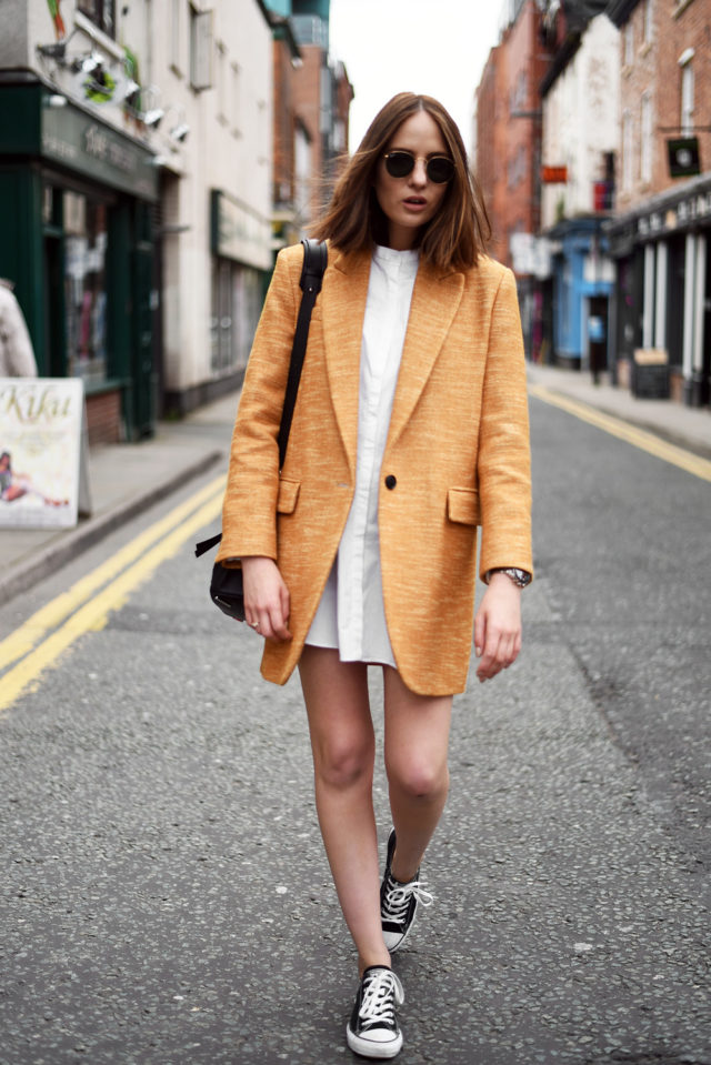 shirt dress-shirtdress-converse-sneakers and dresses-lwd-summer to fall transitional dressing-orange coat-boyfriend blazer coat-