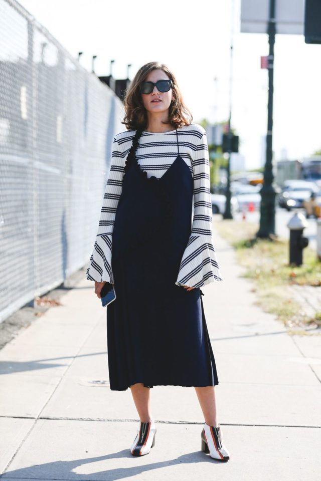 slip-dress-over-shirt-bell-sleeves-nyfw-street-style-ref-fall-work-outfit-office-to-out
