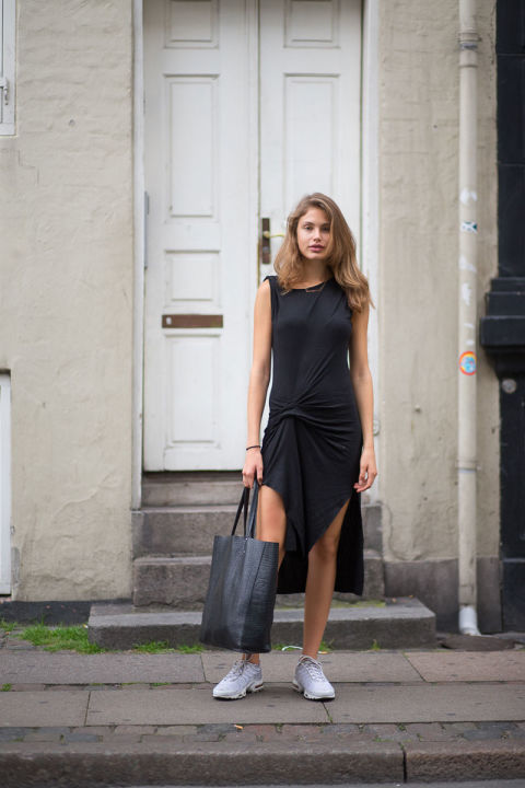 sneakres and dresses-lbd-summer dress-midi dress-slits-slitted-work outfit-weekend-hbz