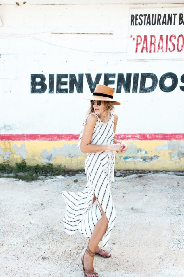 striped sundress-lace up sandals-straw hat-summer dress-summer weekend-beach-