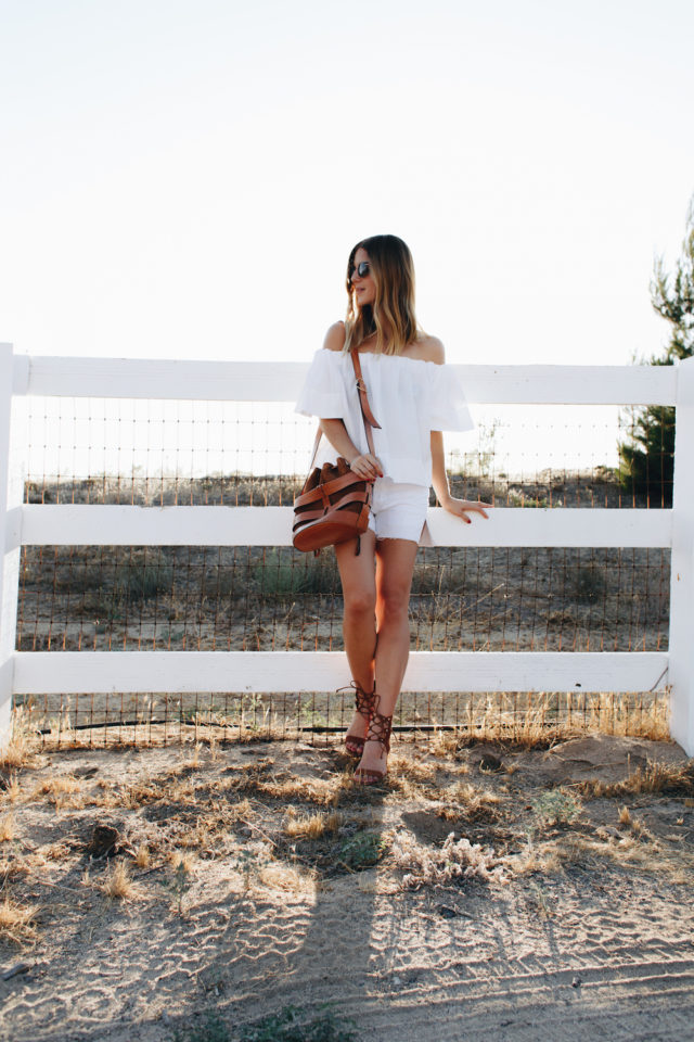 summer weekend-off the shoulder-white shorts-cutoffs-weekend-