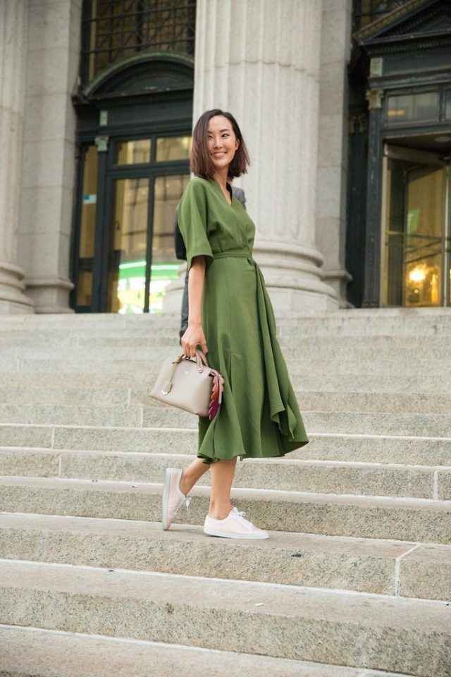 summer work outfit-army green-dresses and sneakers-ps
